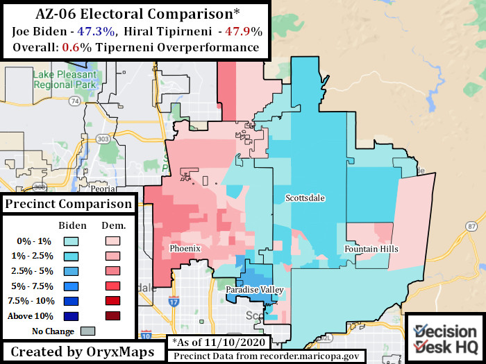 2020 Electoral Comparison between Presidential and Congressional race in AZ-06