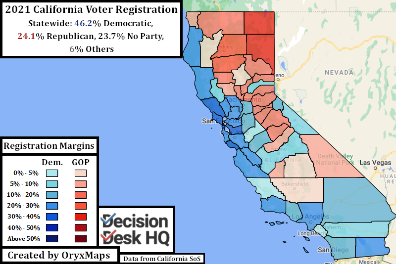 20201 California Voter Registration by County