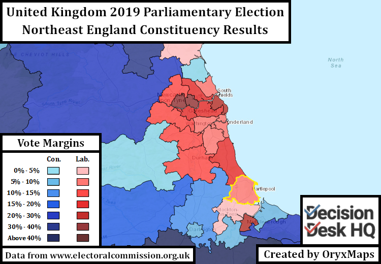 2019 UK Parliamentary Election Results in the Northeast of England.