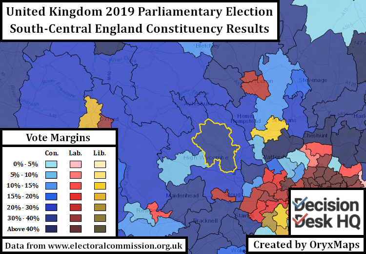 2019 UK Parliamentary Election Results in and around Oxfordshire and London