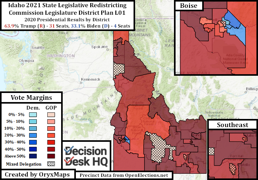 Proposed Idaho State Legislative Map by 2020 Presidential Results