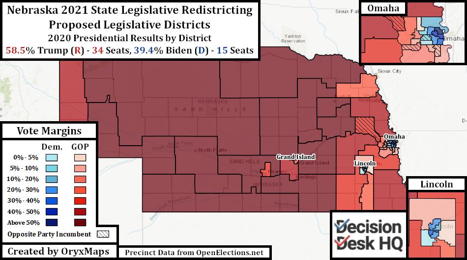 Republican Proposed Nebraska State Legislative Map by 2020 Presidential Results