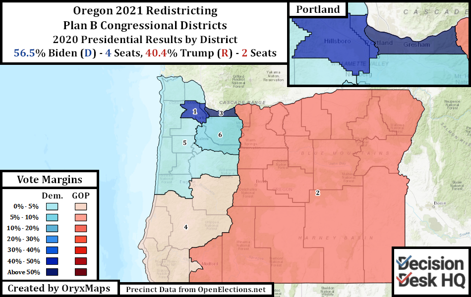 Oregon Plan B Congressional Districts Oregon's Present State House Districts by 2020 Presidential Vote