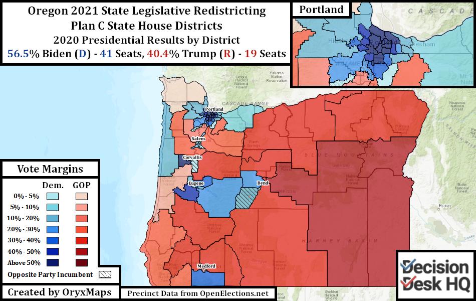 Oregon Plan C State House Districts Oregon's Present State House Districts by 2020 Presidential Vote